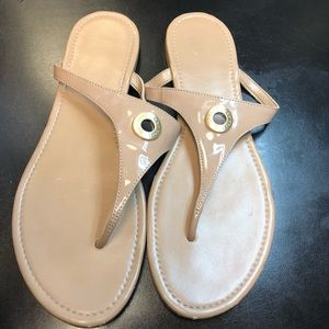 Cole Haan patent leather nude sandals size 9
